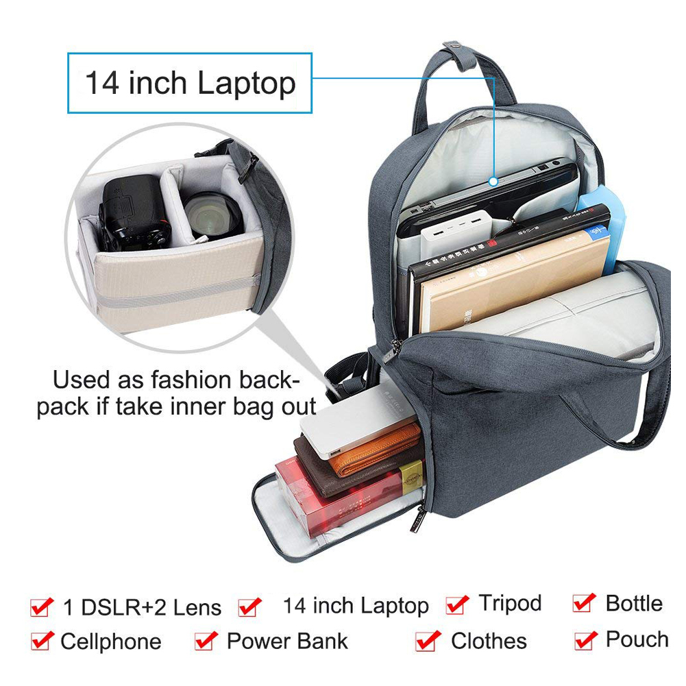 Caden L5 (M) Backpack Waterproof with USB Charging Port Notebook 14 นิ้ว