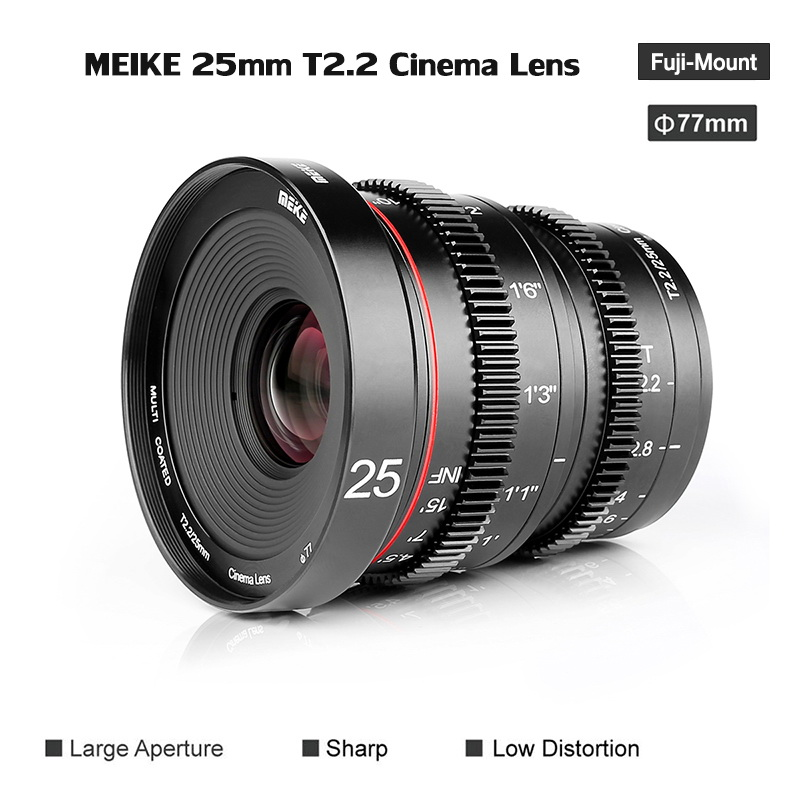 Meike MK 25mm T2.2 FOR FUJI X-MOUNT MANUAL FOCUS CINEMA LENS