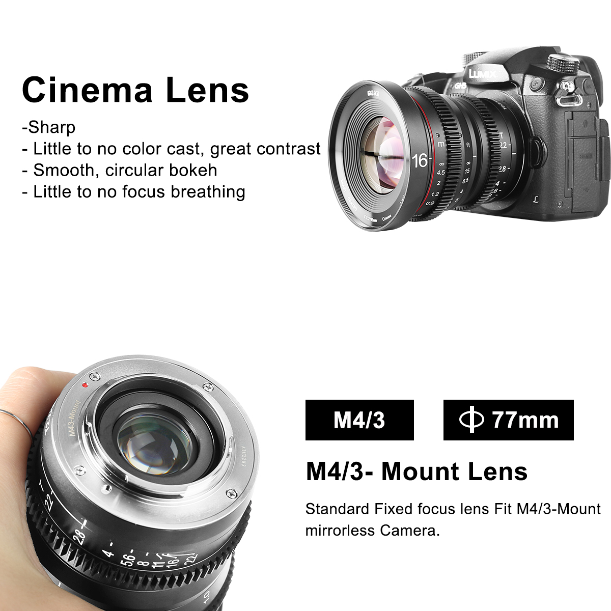 Lens MEIKE 16mm T2.2 Manual Focus Cine Lens for M4/3